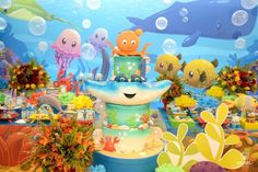 Festa fundo do mar: 75 inspirações e tutoriais para fazer a sua Ocean Party, Mermaid Diy, Under The Sea Party, Baby Shark, Party Themes, Party Ideas, Free Printables, Birthday, 1st Year