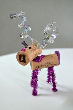 Reindeer Deer wine cork ornament on Etsy