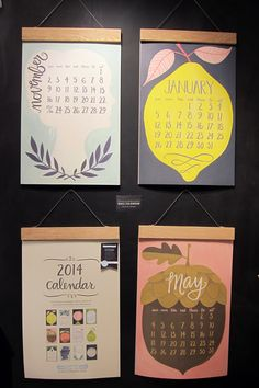 Oversize wall calendar by One Canoe Two - 2013 National Stationery Show