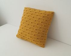 Throw Pillow, Knitted Cushion Cover, Golden Yellow - BOSCOMBE