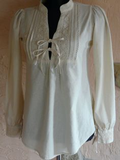 Gyönyörű nyers vászon csipkés blúz , inda, meska.hu #folk #lacy #blouse #shirt Tunic Tops, India, Long Sleeve, Sleeves, White Blouses, Folk Art, Whimsical, Polo, Women