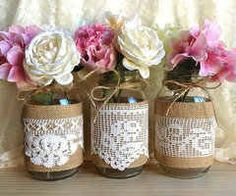 burlap and lace covered green votive candles wedding, bridal shower ...