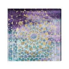 "Oliver Gal Unframed Wall ""Viridian Violet Mandala\"" Canvas Art (€390) ❤ liked on Polyvore featuring home, home decor, wall art, home wall decor, mounted wall art, interior wall decor and star wall art"
