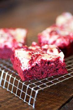 Red Velvet Cheesecake Brownies - 1 box red velvet cake mix, 1/2 c butter, 2 eggs, 8 oz cream cheese, 1/4 c sugar, 1/2 tsp vanilla