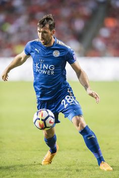 Leicester City FC defender Christian Fuchs in action during the Premier League Asia Trophy match between Leicester City FC and West Bromwich Albion at Hong Kong Stadium on July 2017 in Hong Kong, Hong Kong. Christian Fuchs, Leicester City Fc, West Bromwich, Premier League, Hong Kong, Squad, Asia, Action, Running