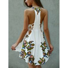 Asymmetrical Scoop Neck Floral Print Lace-Up Dress, WHITE, M in Print Dresses | DressLily.com