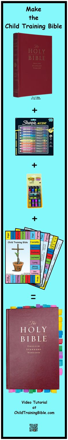 Make the Child Training Bible. Visit www.ChildTrainingBible.com. Great for me to guide the kids to quickly see what the bible says about the many challenges they face.
