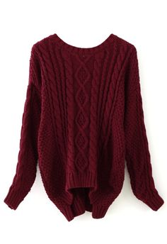 Over sized Wine Red Cable Knit Sweater. i can't even describe how much I want this!!!