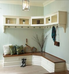 Furniture, Wooden Corner Mudroom Design With Bench Seat Drawer Shoe Storage Clothing Hooks And Cabinet Without Door Ideas: 60 Appealing Mudroom and Hallway Storage Ideas to Apply Hallway Storage, Entryway Bench, Mudroom Benches, Mudroom Cubbies, Mudroom Cabinets, Corner Cabinets, Stock Cabinets, Entryway Furniture, Room Shelves