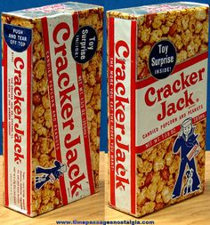 ©1960 Cracker Jack Pop Corn Confection Box - Candy Copated Popcorn, Peanuts and a Prize...That's What You Get With Cracker Jacks!