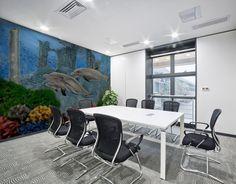 Interior Decor, Inspiration, aqua, blue, dolphins, ocean, seascape, Mural print, fine art, painting, for sale
