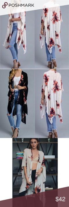 """Coming Soon Beautiful Bohemian Floral Print Kimono Coming Soon Beautiful Bohemian Floral Print Kimono                                                                           * 100% Viscose * One Size Fits Most 38"""" x 46"""" * Color Cream  * Black Available See Separate Listing dina aziza Accessories Scarves & Wraps"""