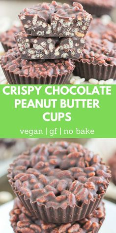 Who doesn't love crunchy chocolate? This easy, homemade Crispy Chocolate Peanut Butter Cups recipe is a healthy, vegan diy snack! These no bake chocolate rice crispy treats are perfect for those warmer months when you don't want to turn on the oven.
