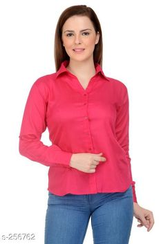Shirts Trendy Rayon Women's Shirt Fabric: Rayon Sleeves: Sleeves Are Included  Size: L - 40 in XXL - 44 in Length: Up To 26 in Type: Stitched Description: It Has 1 Piece Of Women's Shirt Pattern: Solid Country of Origin: India Sizes Available: M, L, XL, XXL   Catalog Rating: ★3.8 (145)  Catalog Name: Ladies Shiny Solid Rayon Shirts CatalogID_26631 C79-SC1022 Code: 433-256762-108