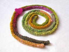 Green Skinny scarf - spring bright colors: orange