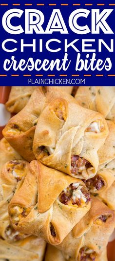 Crack Chicken Crescent Bites - chicken, bacon, cheddar and ranch baked in crescent rolls. SO addictive! I took these to a party and they flew off th. Recipes Using Crescent Rolls, Crescent Roll Appetizers, Chicken Crescent Rolls, Crescent Roll Recipes, Chicken Bites, Crack Chicken, Chicken Bacon, Canned Chicken, Best Appetizers