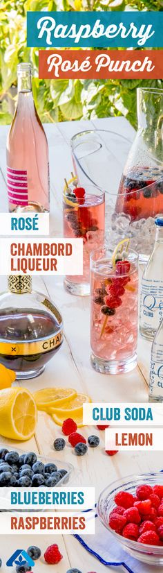 Shake up this festive drink for a 4th of July party with friends! Including rosé, Chambord Liqueur, club soda, lemon, blueberries, and raspberries, this recipe is perfect for any summer BBQ!