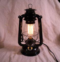 Black Electric lantern industrial table lamp par EvasFeathers