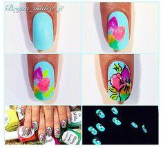 Photo by polishmetogo Tropical Flower Nails, Tropical Nail Art, Hot Nails, Hair And Nails, Flower Nail Art, Nail Tutorials, Mani Pedi, Nail Arts, Nail Art Designs