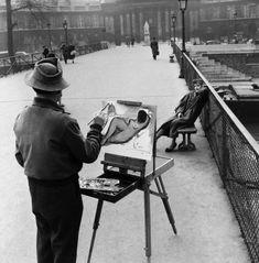 Robert Doisneau // Paris, Le Pont Des Arts, Street Painter, 1953. ( http://www.gettyimages.co.uk/detail/news-photo/france-paris-le-pont-des-arts-jacques-prevert-street-news-photo/121510616
