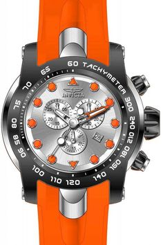 Invicta Pro Diver Chronograph Silver Dial Orange Silicone Men's Watch 17808