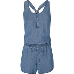 Splendid - Washed-denim Playsuit ($92) ❤ liked on Polyvore featuring jumpsuits, rompers, mid denim, playsuit romper, denim rompers, color block jersey, blue rompers and blue romper
