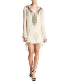 TDAK6 Haute Hippie Getty Beaded Paisley Silk Shift Dress, Antique