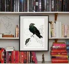 Art print 29x42 cm, limited edition, signed. Anna Handell,  Illustration, ink, art, bird Nordic design, Scandinavian design.