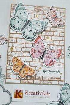 Ich muss zugeben, dass neben meinem Favorit der Produktreihe Sand und Meer aus dem Minikatalog, es mir auch die Produktreihe Butterfly Brilliance angetan hat. Hier zeige ich Euch meine zweite Kreation mit den schönen Schmetterlingen aus der Aktion Flügel voller Fantasie. Wie Ihr den schönen Effekt mit der kolorierten Mauer hinbekommt beschreibe ich Euch in der Anleitung auf meiner Webseite. Website, Action, Fantasy, Tutorials, Projects, Cards, Creative