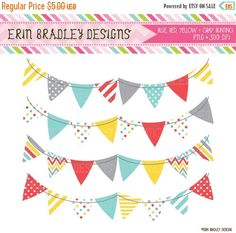 50% OFF SALE Banner Flag Clipart Blue Yellow Red & Gray Commercial Use Clip Art Graphics
