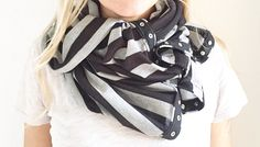 Another 3 Stars North handmade oversized scarf with snap buttons. Infinity scarf, black and gray, stripes, fall fashion, winter fashion, gift, Christmas gift, shop small.