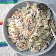 Creamy Coleslaw Recipe -A package of shredded cabbage and carrots really cuts down on prep time for this coleslaw recipe. It's great for potlucks or to serve to your family on a busy weeknight. —Renee Endress, Galva, Illinois