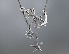 Lost at Sea Necklace Silver Anchor Necklace Ship Wheel