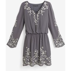White House Black Market Boho Embroidered Dress (2.335 ARS) ❤ liked on Polyvore featuring dresses, elastic waist dress, lace up dress, white house black market dresses, three quarter sleeve dresses and grey dress