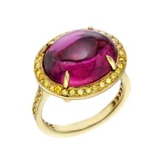 Paolo Costagli Pink Tourmaline & Yellow Diamond Ring - Love the contrast of the fabulously-bright pink against the radiant yellow diamond surround...wish she were all mine!