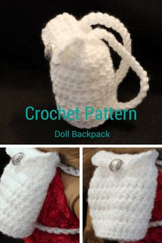 Crochet Backpack for 18 inch Doll: 1) http://ravenwould.com/2017/01/06/recent-gift-projects-free-pattern/ 2) http://ravenwould.com/wp-content/uploads/2017/01/Crochet-Backpack-for-18-inch-Doll.pdf