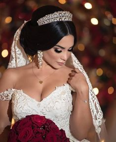 Belíssima Repost with her Sima Couture dress at the Amazing Bridal Hair And Makeup, Bride Makeup, Wedding Makeup, Wedding Hairstyles With Crown, Bride Hairstyles, Princess Wedding Dresses, Wedding Gowns, Wedding Tiara Veil, Dress Wedding