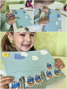Teach your kids about sea transportation or pirates by building a harbor from stickers. ❗ Link available on Romanian territory only. Educational Crafts, Diy Stickers, Pirates, Transportation, Crafts For Kids, Sea, Teaching, Building, Link