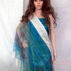Seaboat design on silk dupatta