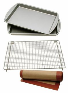 Kitchen Elements 4-Piece Baking Set with 2 Cookie/Jelly Rolls Pans, Cooling Rack and Silicone Baking Mat