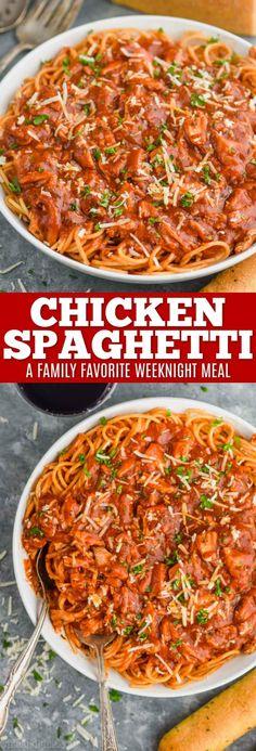 Chicken Spaghetti Chicken Spaghetti Red Sauce, Chicken With Red Sauce, Healthy Chicken Spaghetti, Chicken Pasta Recipes, Pasta With Red Sauce, Chicken Spaghetti Recipe Crockpot, Rotisserie Chicken, Easy Healthy Recipes, Bon Appetit