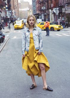 Sonya Esman - mustard yellow gown, gucci fur mules, and DIY BY PANIDA SEQUIN DENIM JACKE