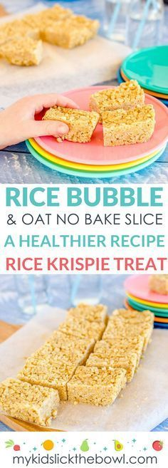 No Bake Rice Bubble Oat Slice. – No-bake rice bubble oat slice a healthy Rice Krispie treat recipe for kids – - Lombn Sites Baby Food Recipes, Gourmet Recipes, Baking Recipes, Snack Recipes, Baking Snacks, Yummy Snacks, Fudge Recipes, No Bake Kids Recipes, Recipes Dinner