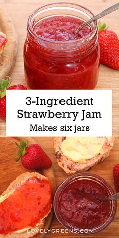 Easy Strawberry Jam Recipe Easy to make strawberry jam recipe that you can prep and make in an hour. Great for using fresh strawberries from the market or garden. Fresh Strawberry Recipes, Fruit Recipes, Water Recipes, Strawberry Jelly Recipe Canning, Easy Jam Recipes, Homemade Jam Recipes, Rhubarb Jam Recipes Easy, Herb Garden Design, Jars