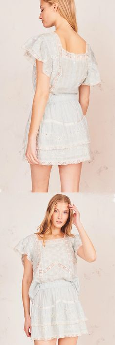LoveShackFancy - Tully Skirt Tully Skirt, Fashion Collage, Runway Fashion, Fashion Trends, Floral Embroidery, Lace Trim, Fashion Dresses, Skirts, Cotton