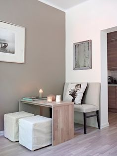 for a very smart and simple dinning space! Small Space Living, Small Spaces, Minis, Compact Living, First Apartment, Little Houses, Small Apartments, Fixer Upper, Interior Inspiration
