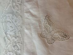Linen Filet Darning Lace Butterfly Tablecloth by ProperHeirlooms