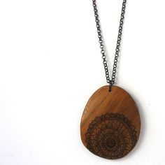 Illustrated Doily Wood Necklace    My timber pendants are made using recycled and salvaged timber (some of it quite old) hand-cut by me using my
