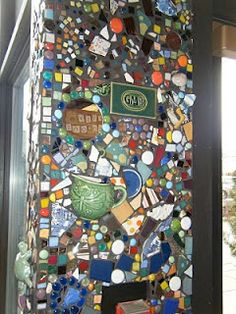 mosaic walls, tabletops using old china, found objects, key collection, jewelry....