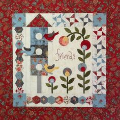 """""""Remembering Annabelle"""" ~ 27""""sq wall quilt with birds & birdhouse, using EPP & appliqué, $10.50 pattern 